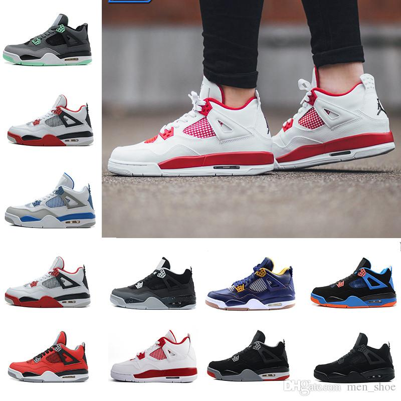 db6104fe6be5da 4 4s Men Basketball Shoes Motorsports Blue Game Royal Fire Red White Cement  Pure Money Black Cat Bred Oreo Fear Pack Sport Sneakers Trainers Basketball  ...