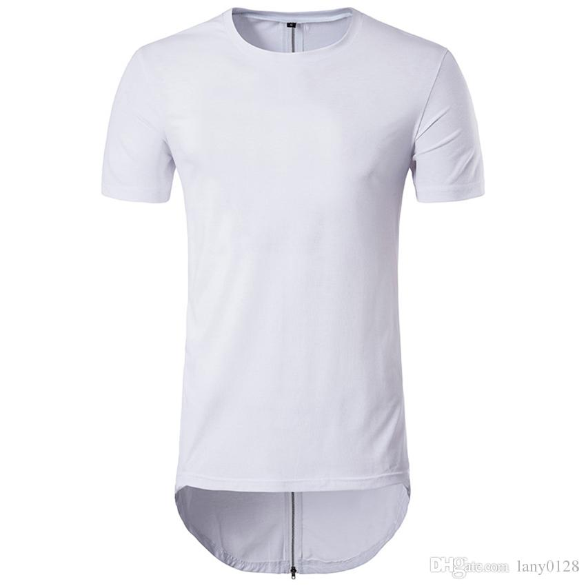 Acquista T Shirt Con Cerniera Lunga Posteriore Maschile Design Tinta Unita  Swag Hem Hip Hop Streetwear Tee Shirt Girocollo Manica Corta Longline Tshirt  Uomo ... a48243d0f94f