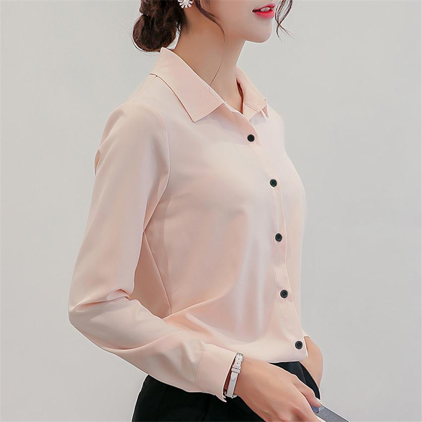 Spring Autumn Women Tops Casual Long Sleeve Chiffon Blouse Female Work Blouses Solid White Office Shirts Blusa Plus Size AB659