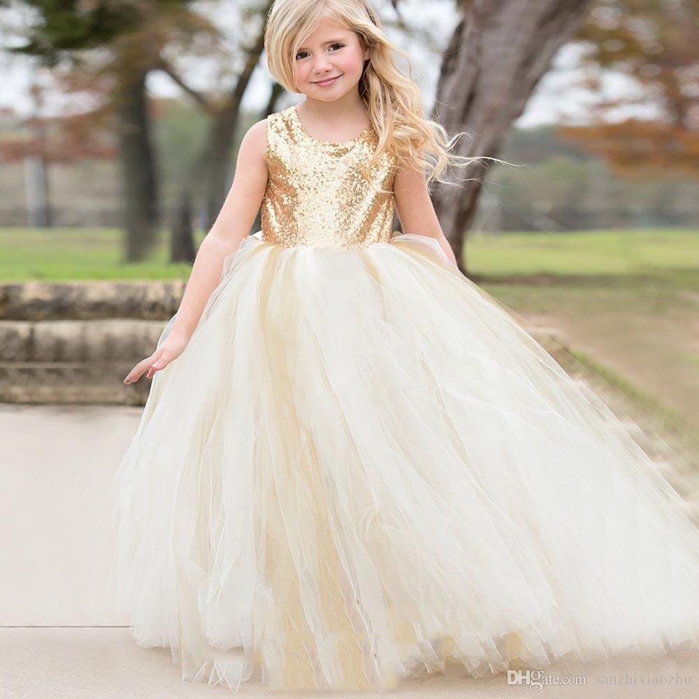 069c796188 New Long Communion Dresses Appliques Crew Neck Sleeveless Ball Gown Back V  Button Flower Girl Dresses For Wedding With Bow Sash Flower Girl Dresses  Under 50 ...