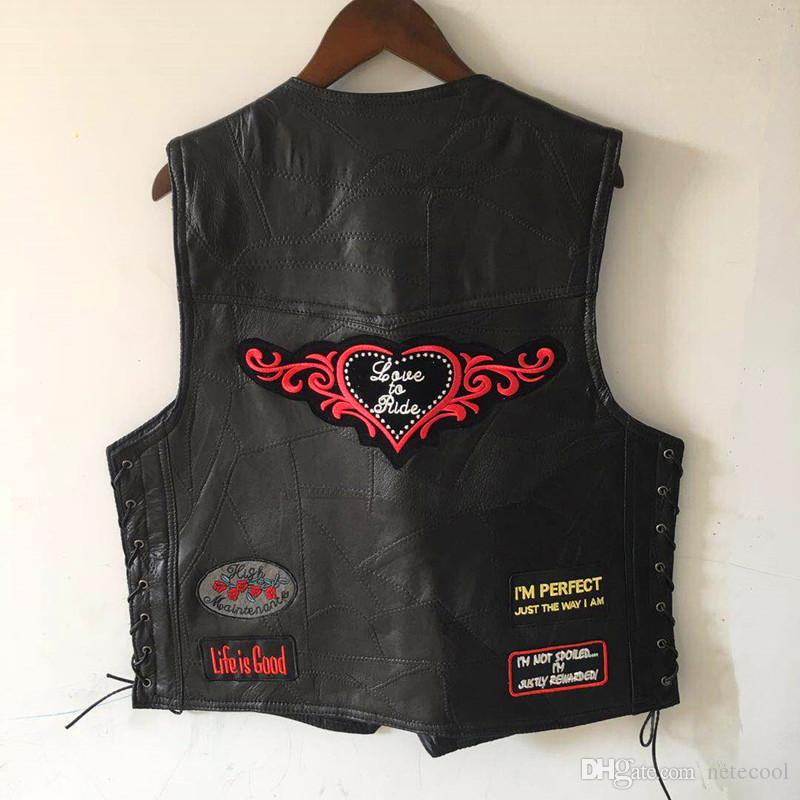 Genuine Sheep Leather Punk Vest Concealed Carry Biker Vest with Patches Harley Motorcycle Jackets Men Casual Waistcoat Sleeveless Shirt New