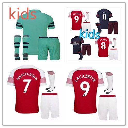 f3a50da4a5a 18 19 ArsENal Soccer Jersey Kids KIT 2018 2019 LACAZETTE MKHITARYAN ...