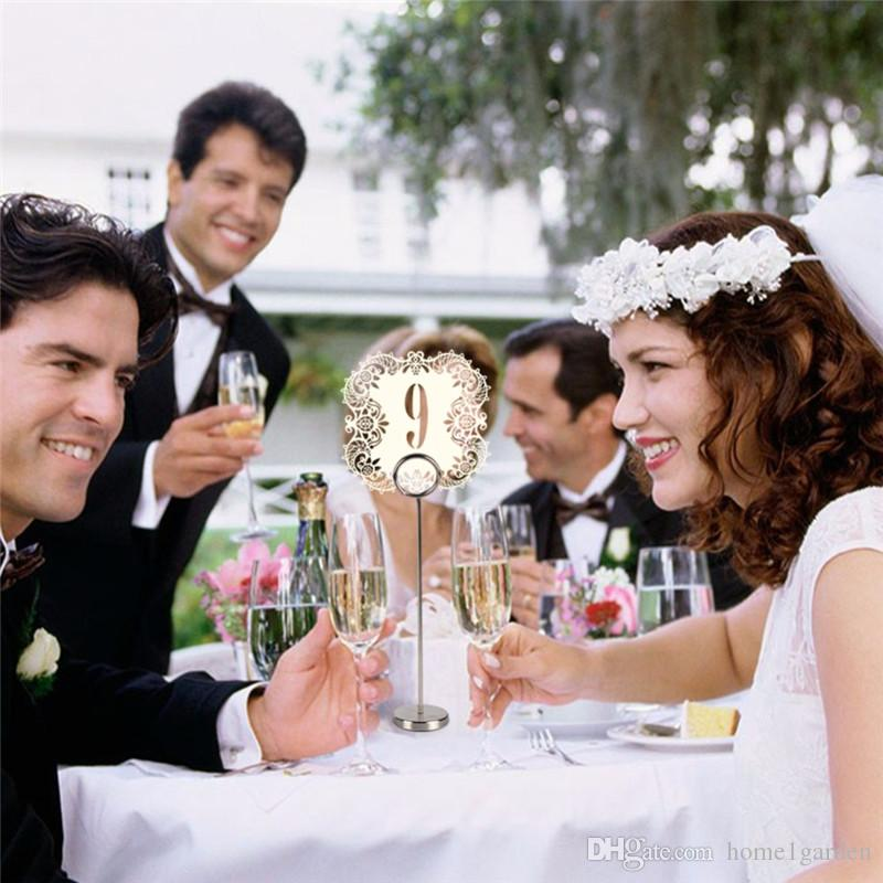 10 Adet / takım Kağıt Kartı Düğün Masa Numaraları Masa Kartları Lazer Kesim Kartı Vintage DIY Düğün Dekorasyon Olay Parti Malzemeleri