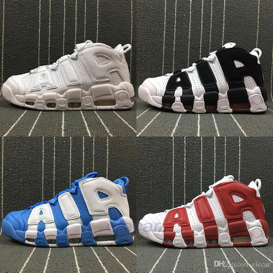 premium selection 390a1 6376a 2019 Top Air More Uptempo OG Basketball Shoes Mens Pippen Black White 3M  Reflective Boots Womens Scottie GS Golden Fashion Trainers Size 36 46 From  Elecar, ...