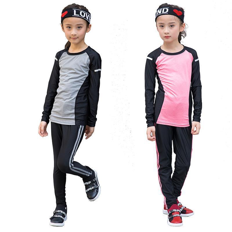 0985574a8 Kids Fitness Tights Running Set Girls Dances Gym Sportswear Long ...