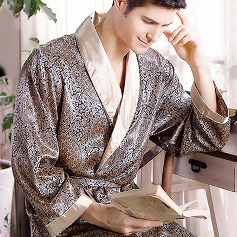 108e51f261 2019 Pijamas Male 2016 New Real Men Luxury Bathrobe Geometric Robes V Neck  Imitation Silk Knitted Sleepwear Full Sleeve Nightwear From Sweatcloth