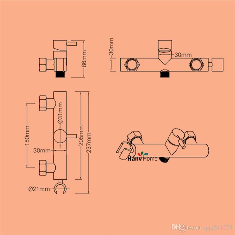 ORB Toilet 비데 스프레이 호스, 휴대용 비데, 휴대용 핸드 헬드 비데 샤워 세트가있는 뜨거운 콜드 믹서 밸브