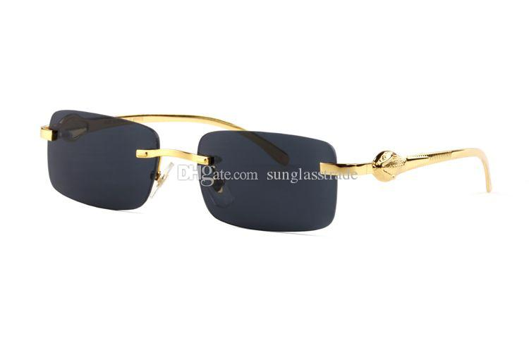 a13e35d35c94 Newest Frence Brand Buffalo Horn Glasses Alloy Sunglasses Fashion Clear Lens  Rimless Stainless Sunglasses Fish Leg Gold Frame With Box Heart Shaped ...