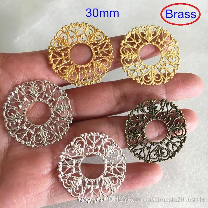 Brass Filigree Ring Connectors,30mm Round Filigree Brass Charm Connectors,Gold-color,Silver-color,Bronze,Jewelry Supplies