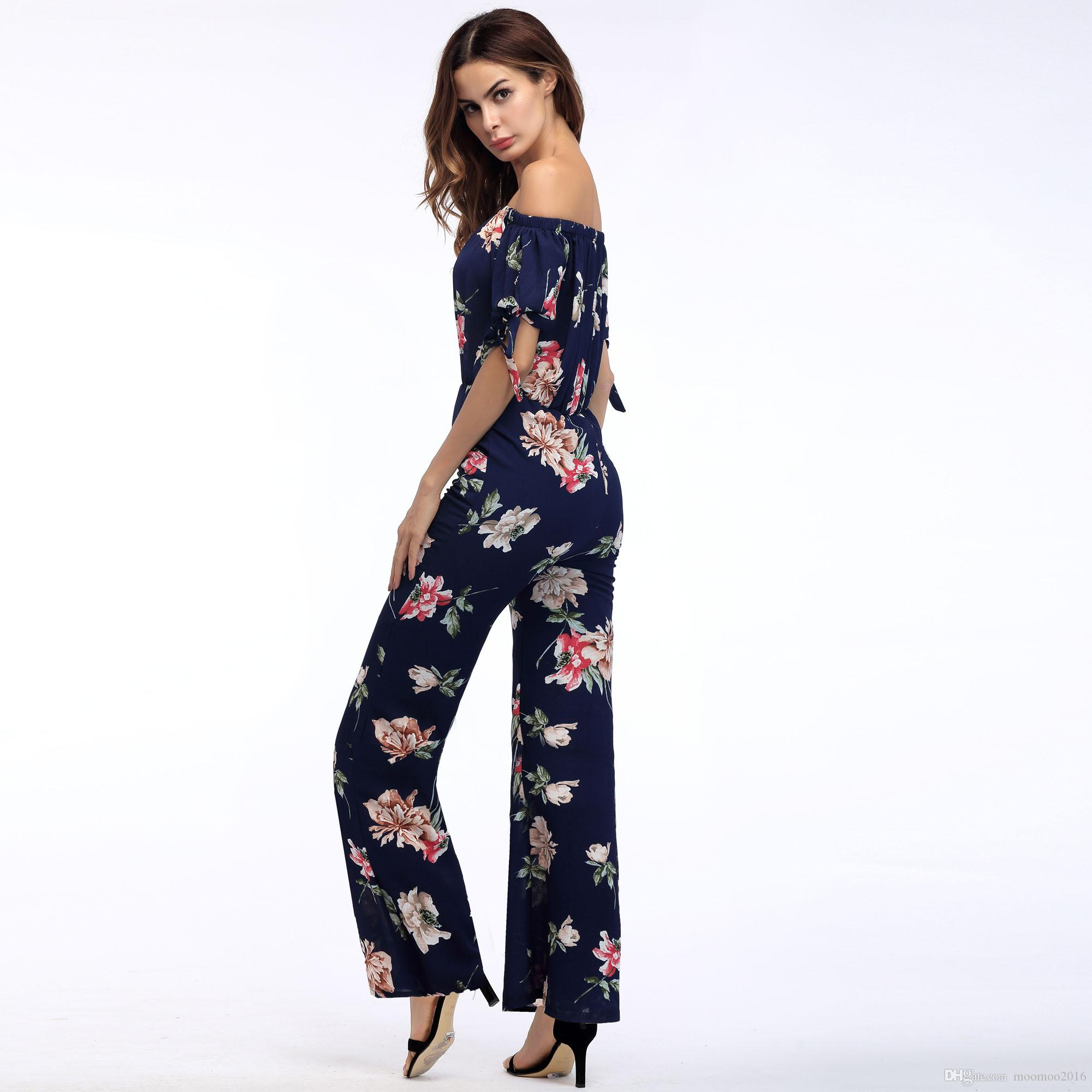 2018 New Arrival Sexy Spring And Summer Flower Print Rompers Women Plus Size Chiffion Strapless Jumpsuits