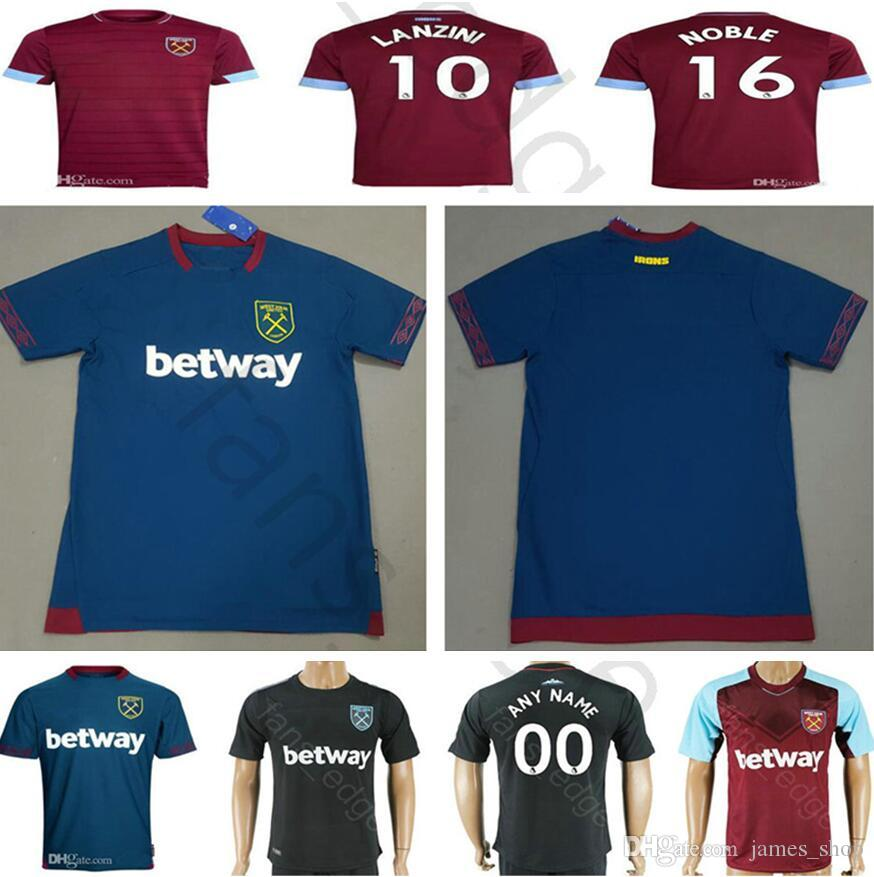 8e4d1973282bb Calidad Tailandesa Nuevo 2018 2019 West Ham United Camiseta De Fútbol  Arnautovic Lanzini Snodgrass Noble Carroll Chicharito Ayew Local Visitante  ...