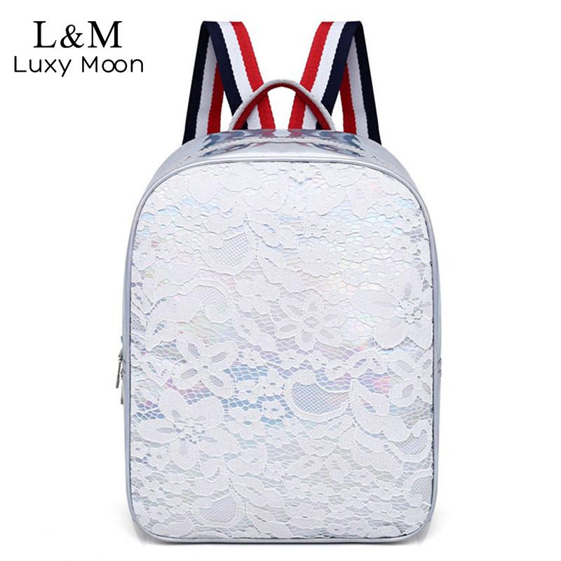 2018 Lace Women Backpack Female Fashion Holographic Glitter ... 83c172ccc789