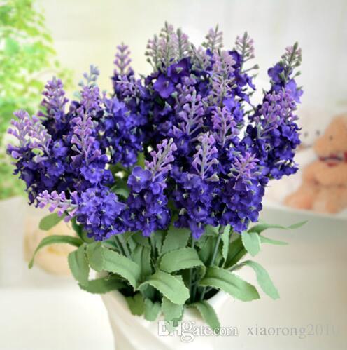 Hot silke lavendel gäng 5 stammar / bit 10st Lavenders Bush bukett simulering konstgjord blomma lila lila vit bröllop / hem