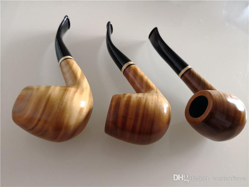 USA Creative wood tobacco smoking pipe Detachable wooden classic bent tobacco pipes high grade cigarette holder cigarette stem