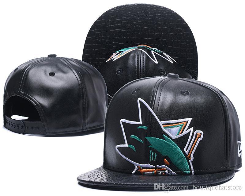 9e0d16306868f5 Men's Vintage San Jose Sharks Snapback Hat Logo Embroidery Sport NHL  Adjustable Ice Hockey Caps Leather Flat Baseball Hats