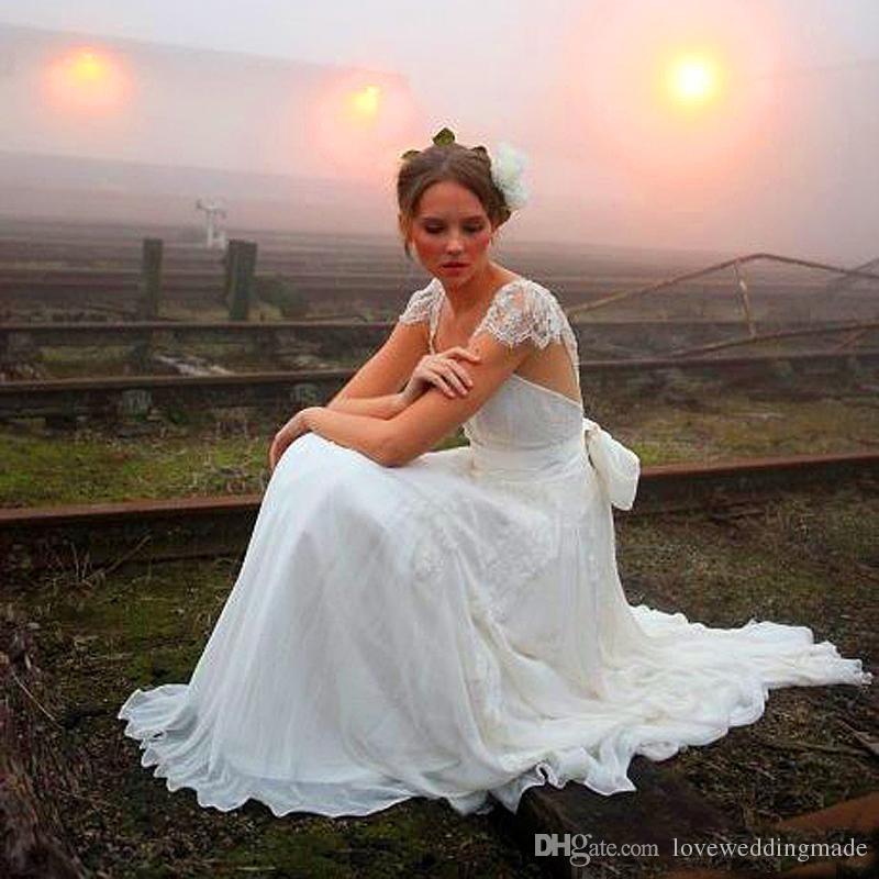 2018 Boho románticos vestidos de una línea de la boda del cordón de marfil del marco del arco del cordón de la gasa del País nupcial al aire libre Vestidos barato
