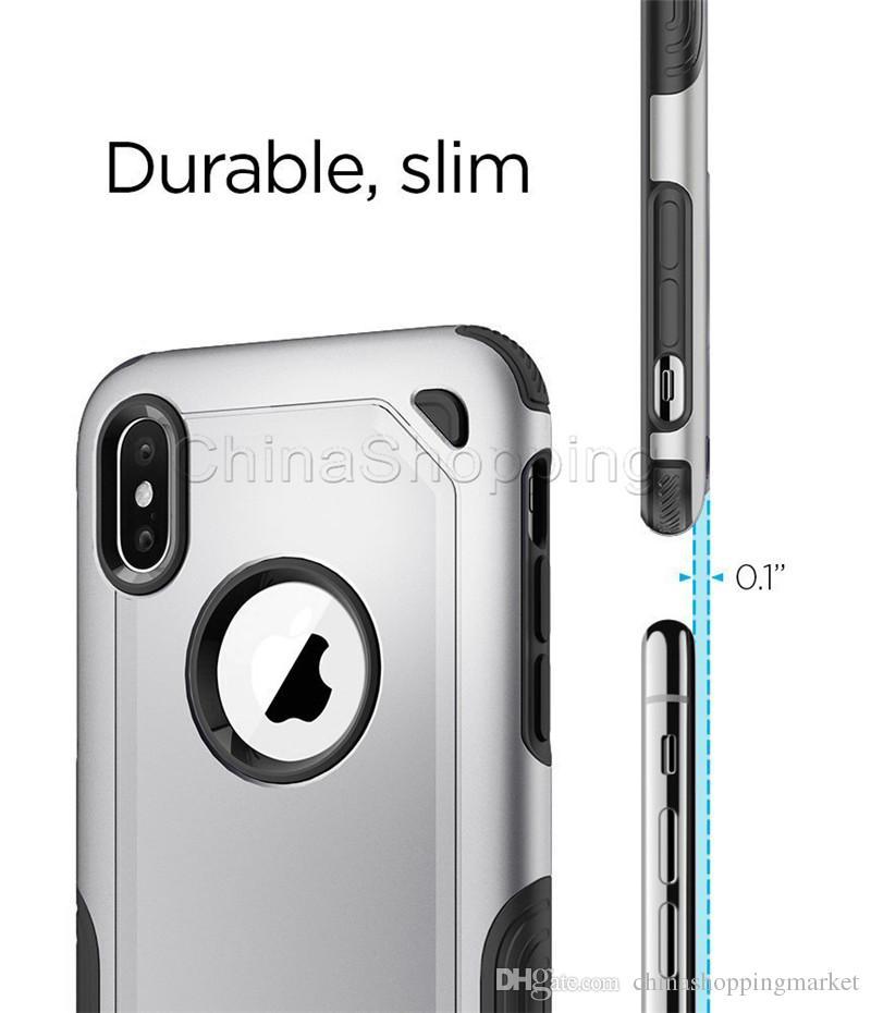 2 en 1 Armure hybride Boîtier robuste antichocs cas pour iPhone 11 Pro Max X Xr X Max 8 7 6 6S plus Samsung S20 Plus Ultra Remarque S10 plus