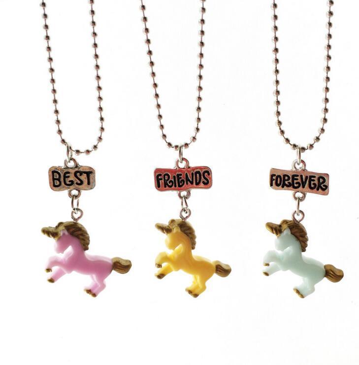 Einhorn Halskette beste Freunde für immer Anhänger Halsketten Kinder BFF Schmuck Harz farbige 3D Einhorn Halsketten vergoldet weißes Gold