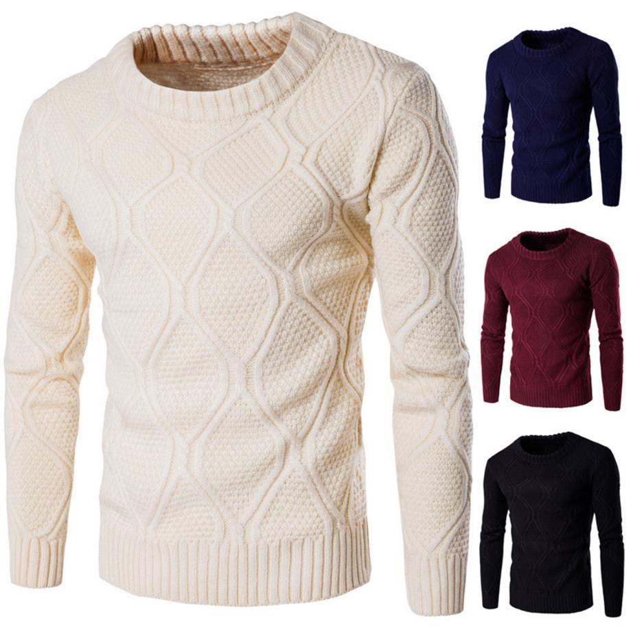 dacfd439e3800 Sweater Men Solid Color Knitted 2018 Long Sleeve O Neck Korean Stylish  Brief Slim Fit For Man Winter Autumn Sweater Free Ship 2017 Fashion UK 2019  From ...