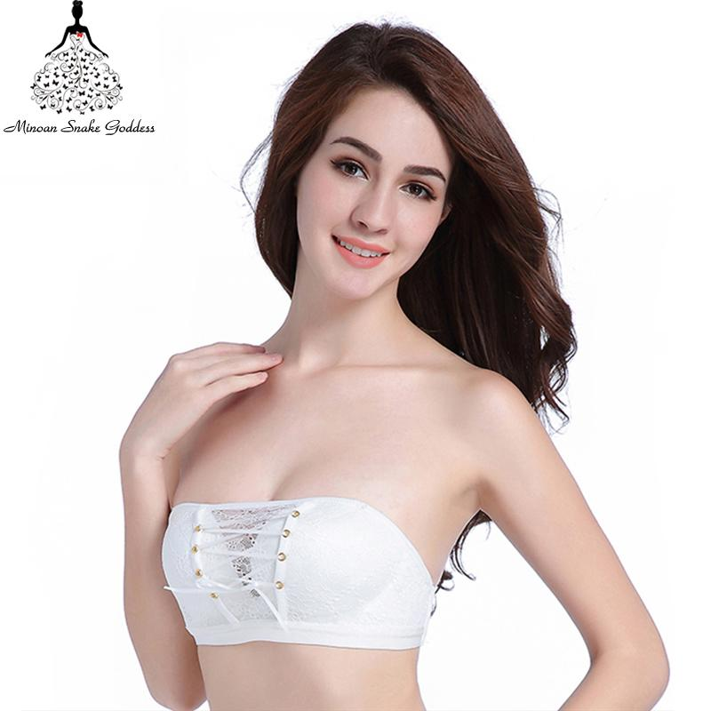 82817ba2c2118 2019 Strapless Bra Push Up Lace Bra Strapless Bralette Crop Top Lace  Bralette Top Comfortable Push Up Wire Free From Peanutoil
