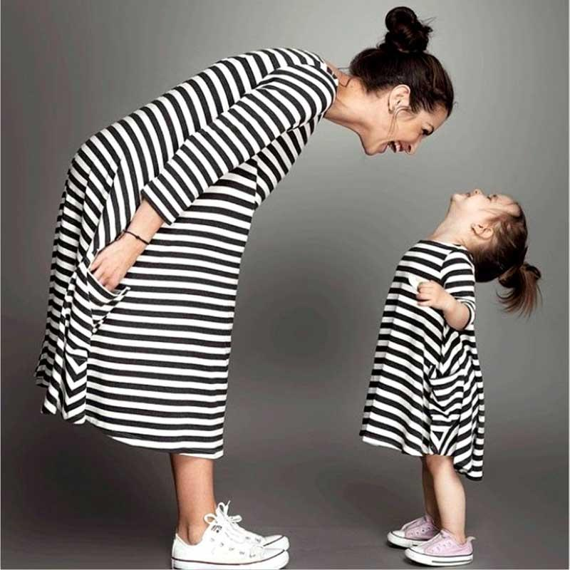 Mommy And Me Family Matching Mother Daughter Dresses Clothes Striped