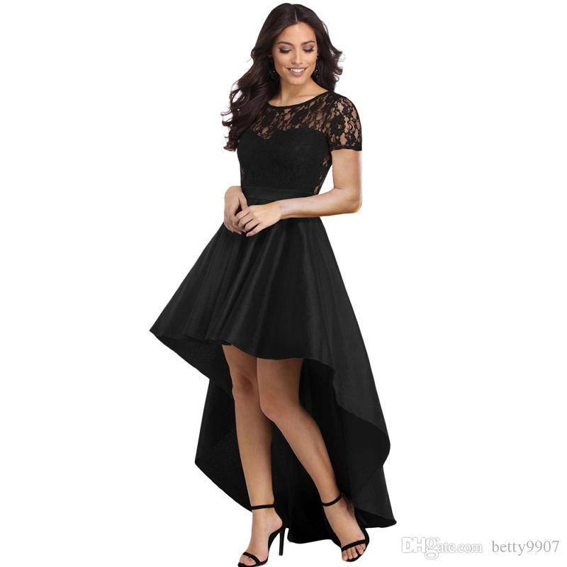 7786b2b151e 2019 Eegant Evening Formal Dresses 2018 Lace Bodice Short Sleeve High Low  Black Royal Blue Burgundy Party Clothes From Betty9907
