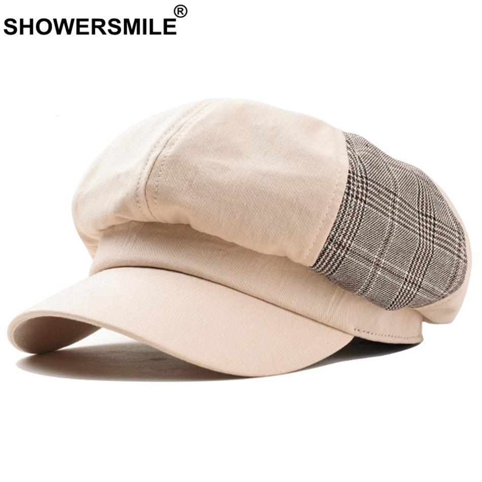 Compre SHOWERSMILE Patchwork Newsboy Cap Women Cotton Plaid Sombrero  Octogonal Mujer Casual Clásico Verano Otoño Pintores Sombrero Nueva Moda A   21.24 Del ... b4d3dc8f420