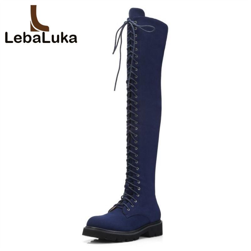 Alla Acquista Alti Lebaluka Jeans Donna Coscia Stivali Scarpe IIx4w