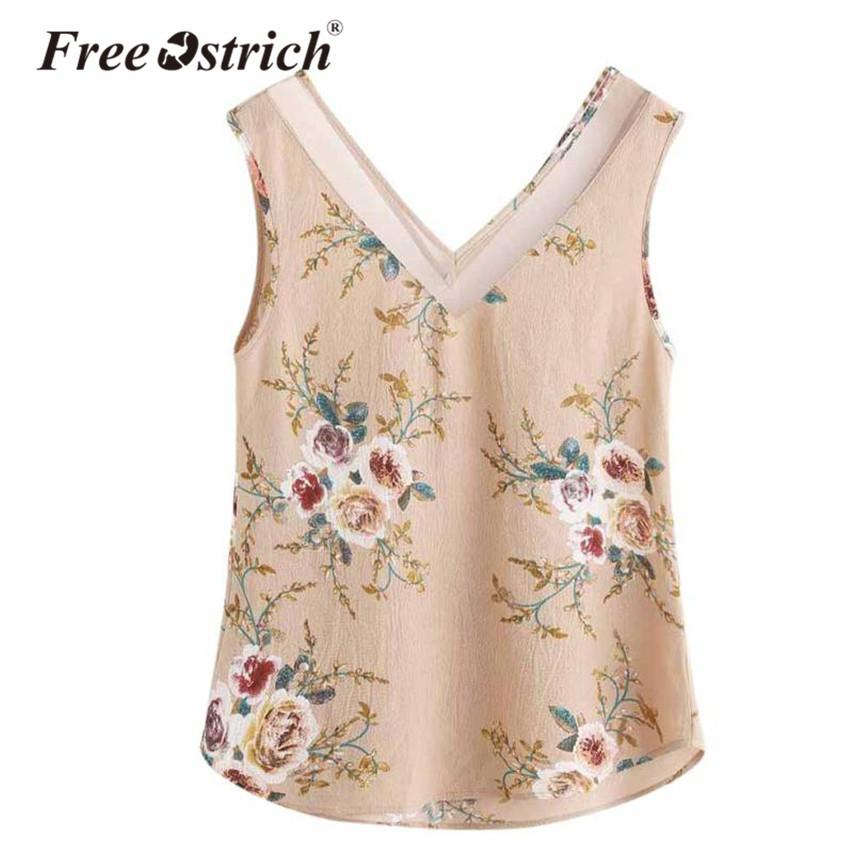 092b9e2c8532a 2019 Free Ostrich Summer Women Tank Tops Vest Chiffon Floral Pattern Casual  V Neck Ladies Tank Tops From Blueberry13, $33.19 | DHgate.Com