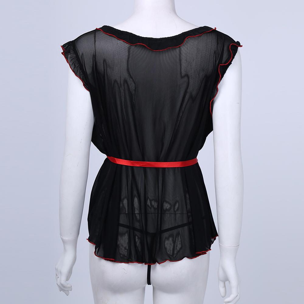 أسود الملابس الداخلية لوتس كم فستان + G سلسلة Wetlook سيسي ملابس غريبة الملابس الداخلية للمجموعة جنسي الملابس الداخلية النسائية واحد الحجم
