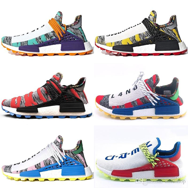 cheap for discount 2e788 66ac1 2019 PW Human Race Trail X Pharrell Williams Mens Women Running Shoes Cheap  Top Quality Lightweight Sport Designer Shoes Sneakers US 5 12.5 From  Holdshop, ...