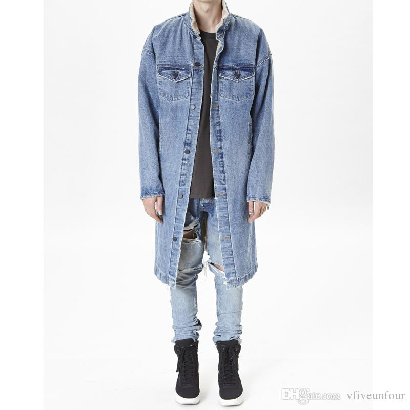 a94d87afdc 2018 Winter New Fashion Men Outfits Stylish Long Coat Clothing Fleece Winter  Denim Jackets Jean Jacket Outerwear Loose Oversize Coats Men In Jacket Cbj  ...