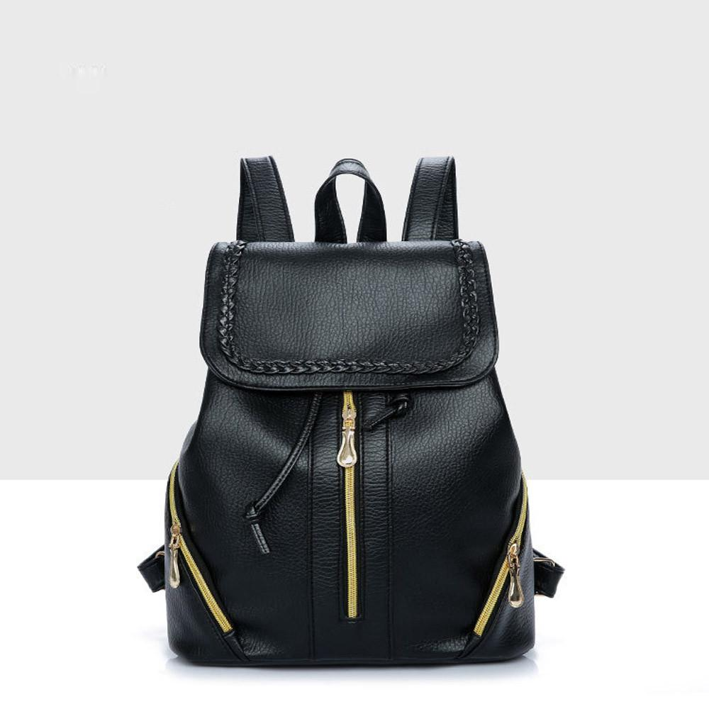 fabd86ae906d Backpack Female School Bags Leather Backpack Women Schoolbag Zipper Travel  Bagpack Black Material Escolar Black Backpack Camera Backpack From  Paradise12