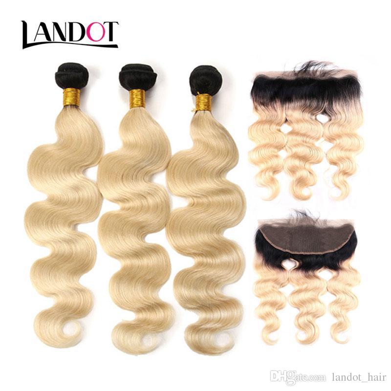 9A Ombre 1B / 613 Bleach Blonde 13x4 Chiusura frontale in pizzo con 3 fasci Brasiliano Peruviano Malese Indiano Corpo Onda Vergine Tessuto capelli umani