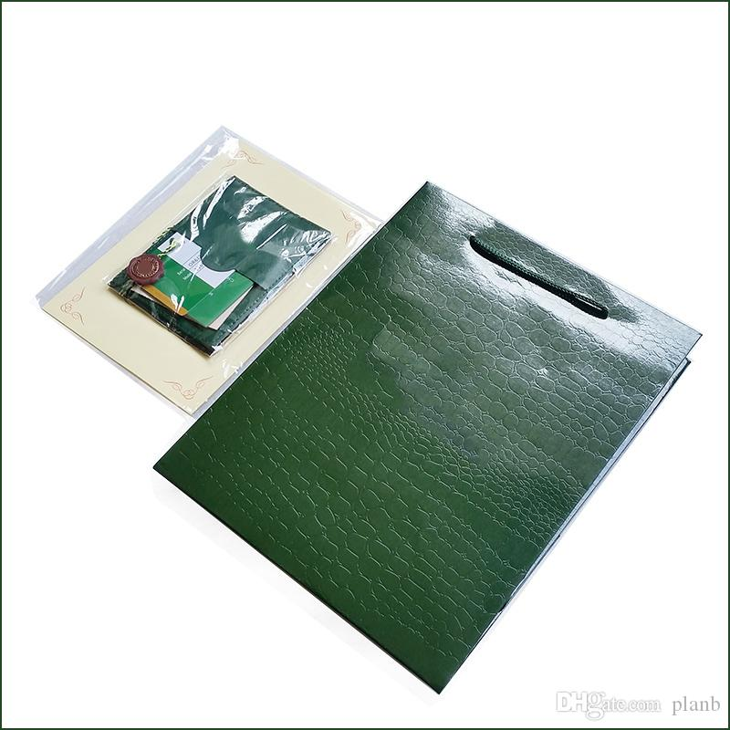 Only Original Box Papers / Card / Certificate! Luxury Watches Packaging Box  Brand Green Watch Papers for Rolex Watch box Gift Bag