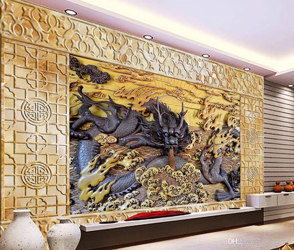 3d Wallpaper For Kitchen Wooden Dragon Relief Wall Marble Carved