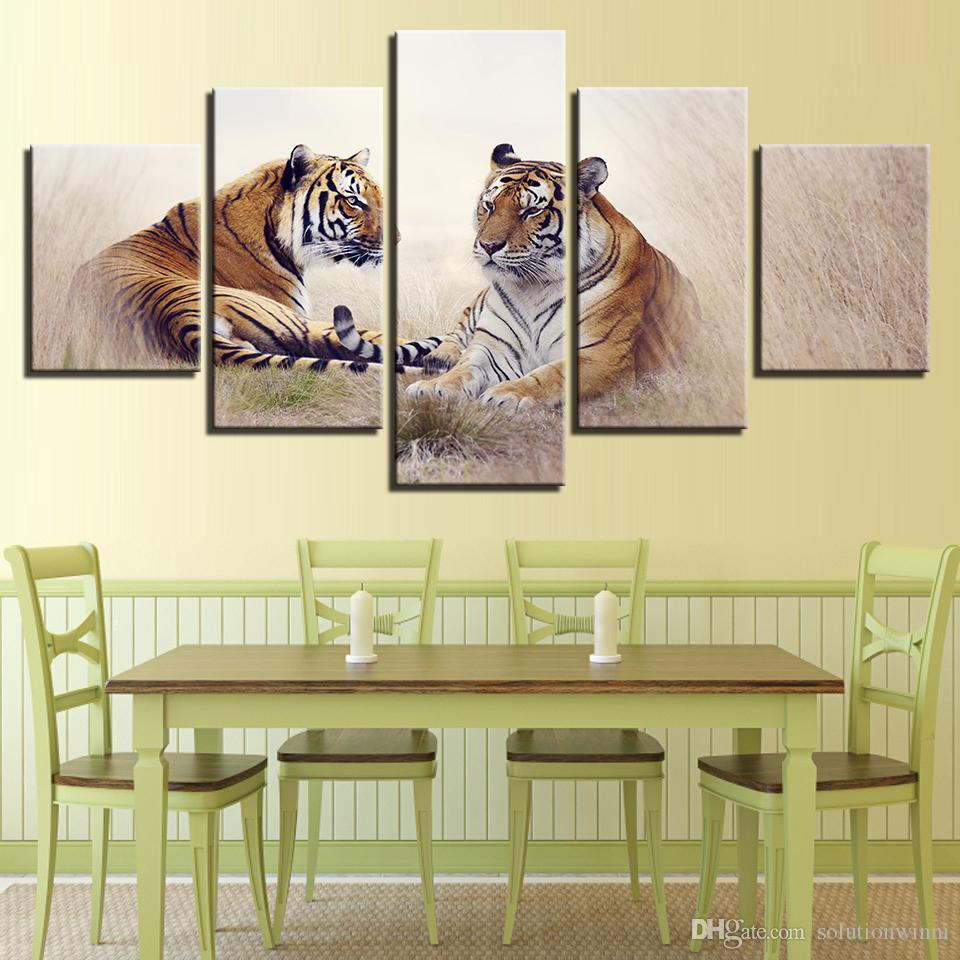 2018 Wall Art Animal Canvas Pictures Modern Hd Print Tiger Couples ...