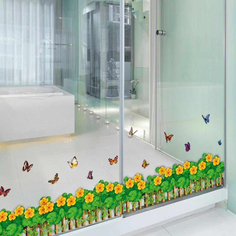 Fence Butterfly Baseboard Wall Stickers Bathroom Porch Bedroom Living Room Cabinets Glass Home Decorative Wall Stickers