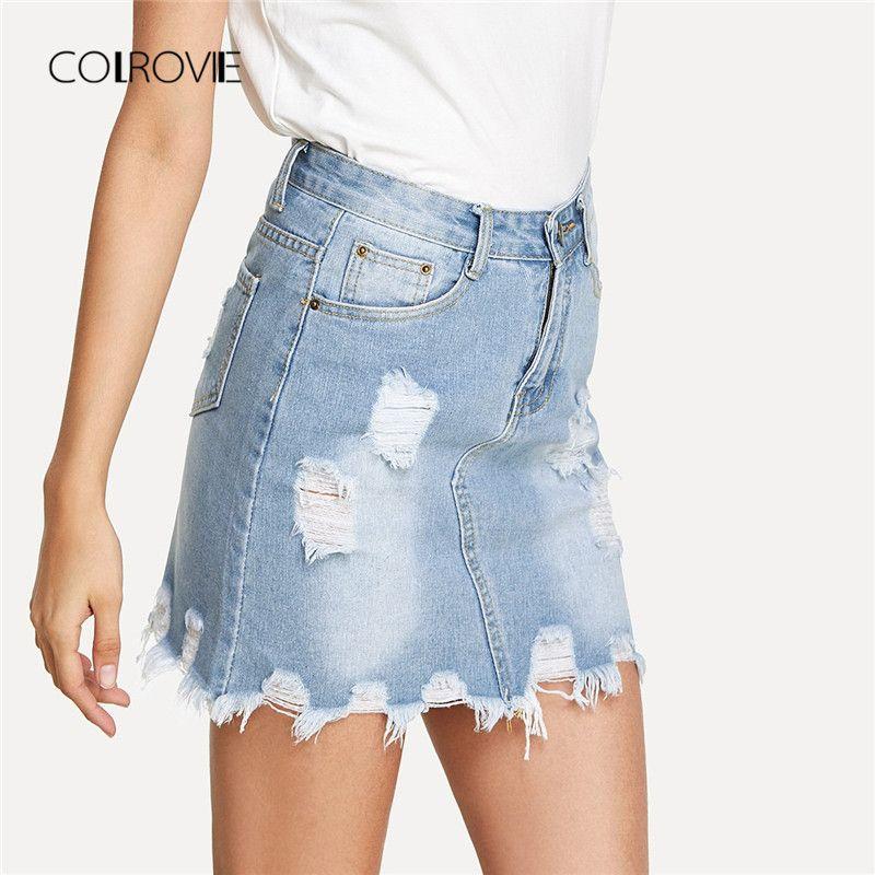 1cd3c888b911 COLROVIE Bleach Wash Zerrissene Mini Jeansrock 2018 Sommer Neue Mantel  Frauen Rock Grundlegende Tasche Jeans Hohe Taille Casual