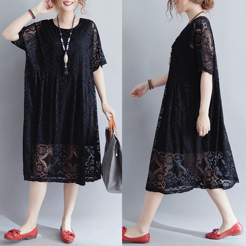 088c02693436 Fashion Chiffon And Lace Dress Red Black Plus Size Solid Fat MM Female  Skirt Short Sleeves O Neck Casual Sexy Loose Dresses Buy Dress Online  Dresses Women ...