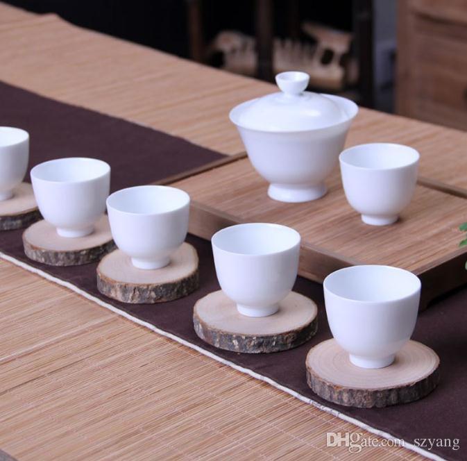 Nueva Llegada DIY Ronda Natural De Madera Estera de la Copa Slice Coaster Tea Coffee Holder Antideslizante Mat 5 tamaños SN1123