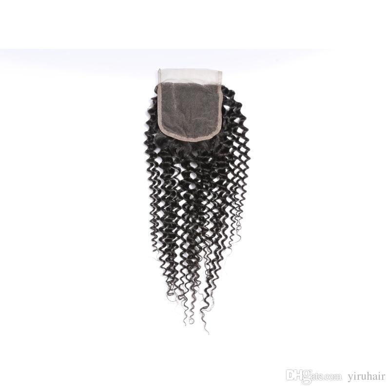 Indisches Menschenhaar 4x4 Spitze Schließung Mit Baby Haar 8-20 Zoll Verworrene Lockige Spitze Schließung Mittleren Teil