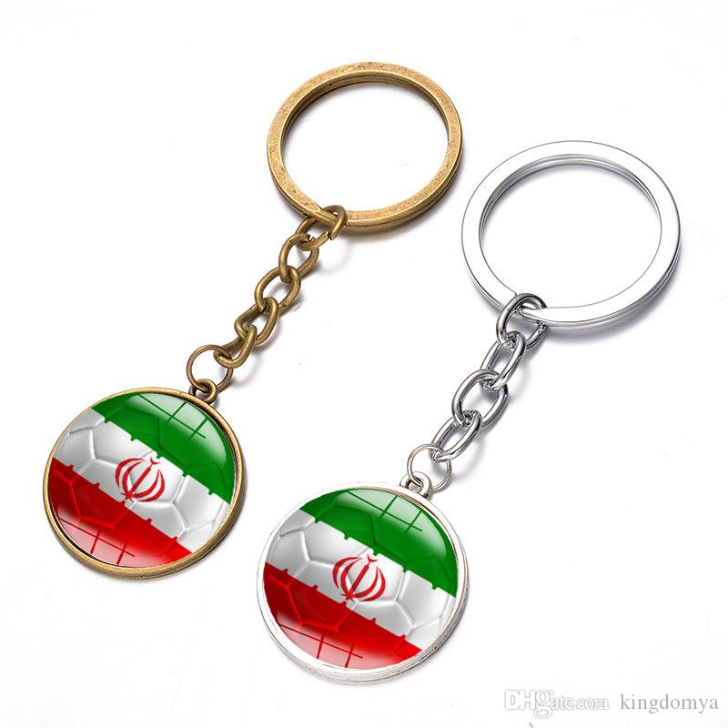 Word Cup Soccer Football Key Chains Pendant Country Flags Zinc Alloy Plated Key Rings