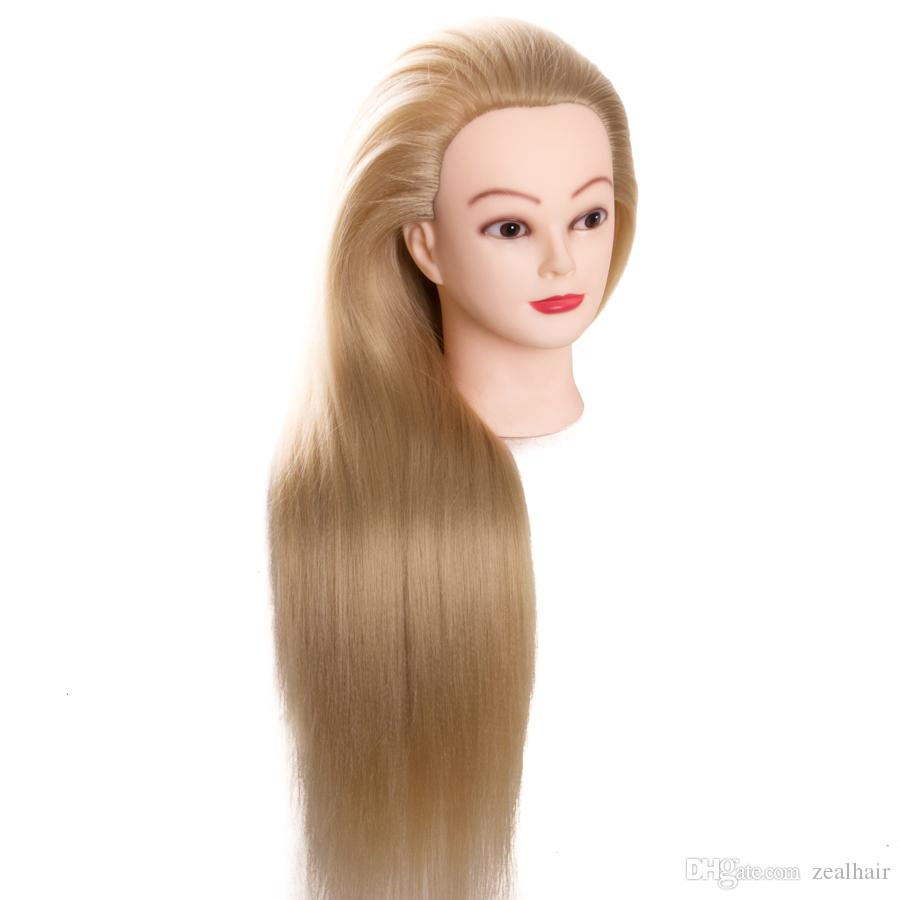 Styling Products United 24 Mannequin Synthetic Fiber Blond Long Hair Hairdresser Training With Clamp Stand Practice Salon Mannequin