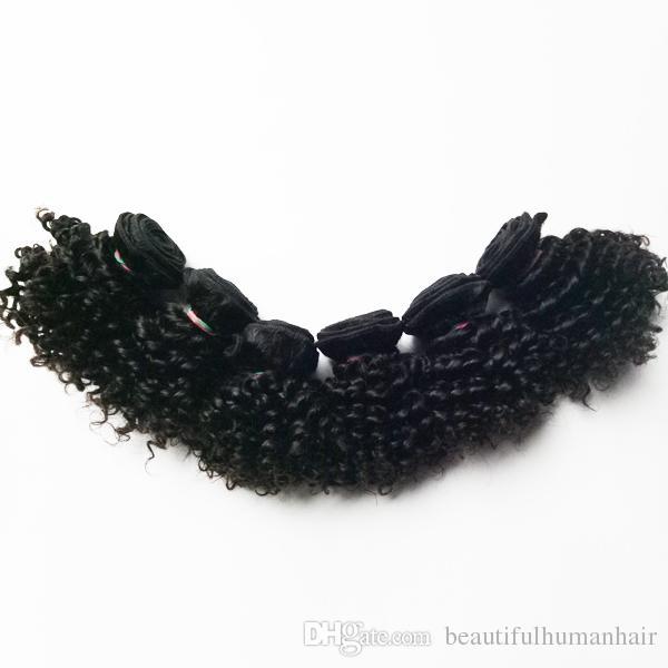 Cabelo Humano Brasileiro Virgem Europeia novo tipo curto 6 polegadas 8 polegadas beleza Kinky Curly cabelo trama dupla extensões de cabelo indiano remy 50 g / pc