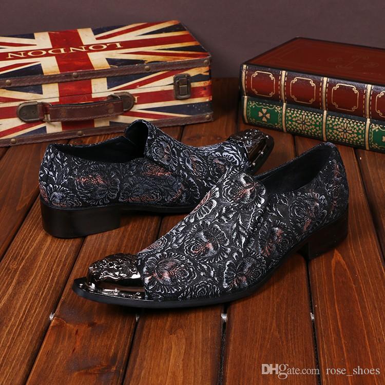 5ebb864ea Compre Moda Masculina Vermelho Colorido Floral Impresso Sapatos De  Casamento De Couro Genuíno Handmade Homens Sapatos Oxfords Sapatos Formais  Vestido De ...
