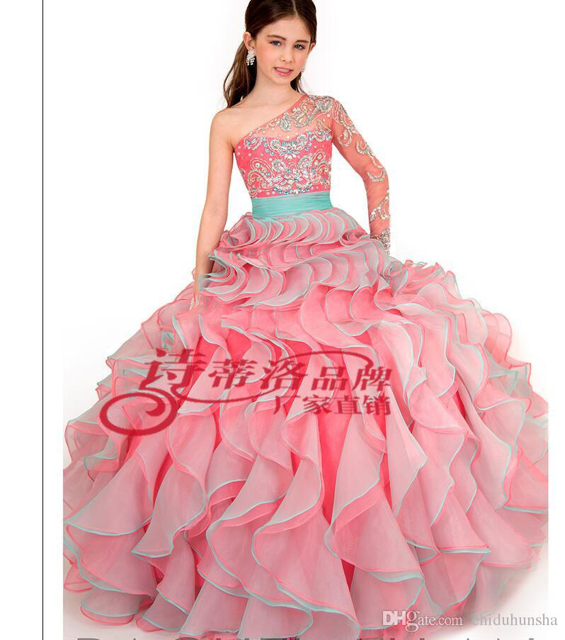 Wholesalers Luxury Ball Gown Color Accented Organza Color diamond One shoulder Flower Party Evening Prom Dresses Ball gown Floor-length