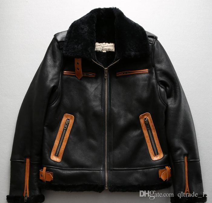 2018 AVIREXFLY B3 jaqueta de couro de pele de carneiro pele de carneiro dupla face com cintura ajustável