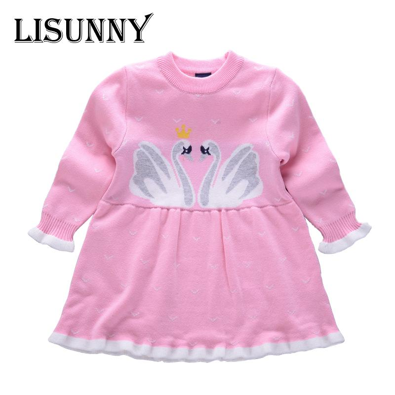 4696caa20 2018 Autumn Winter New Girls Cartoon Swan Princess Dress Kid Baby Sweater  Children Clothing Cotton Knitted Skirt Jumper Pullover Boys Knitted Sweaters  Child ...