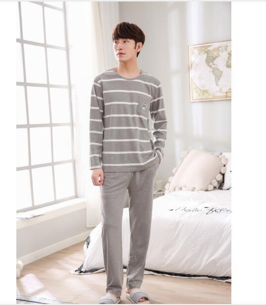 2fef3fab5f Spring And Autumn Section of Cotton Men s Cartoon Printing Casual Pajamas  Fashion Simple Long-sleeved Suit Home Service Spring And Autumn Spring  Fashion ...